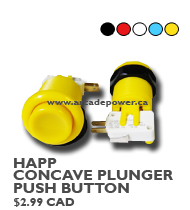 happ concave plunger pushbutton yellow